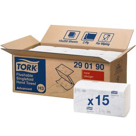 Tork Advanced V/Z hajtogatott kéztörlő, toalettbe dobható